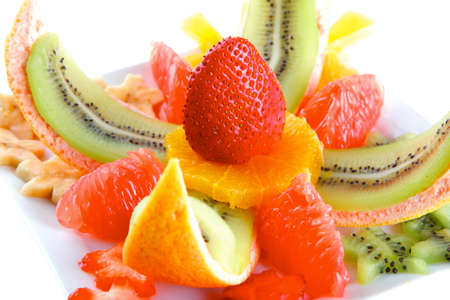 fruit eater: served fresh raw tropical fruits on plate Stock Photo