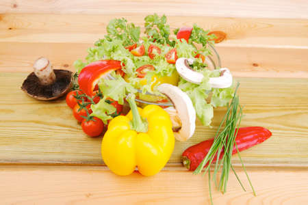 vegetables in salad on wood photo