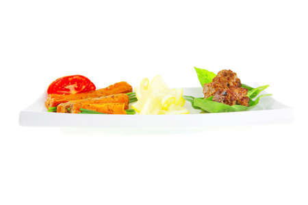 beef meatballs and basil with tomatoes and potatoes photo