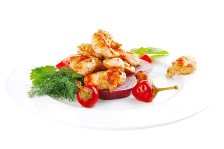 pullet: image of grilled chicken meat on white plate Stock Photo