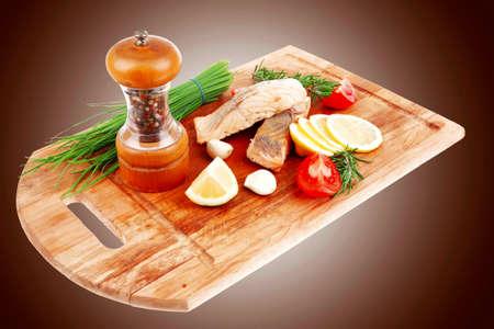 entree: savory sea fish entree : roasted salmon fillet  Stock Photo