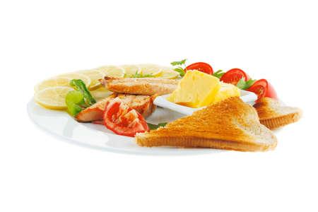 king salmon: image of fillet salmon on white plate