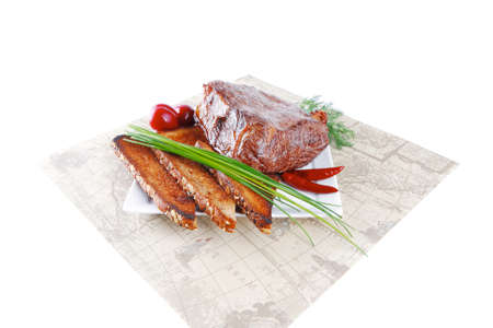 steak beef: beef served with vegetables on white plate with placement