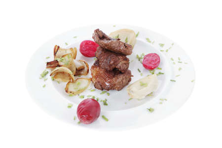 traditionally american: Beef bourguignon in wine with artichoke and marinated vegetables on white plate isolated over white  Stock Photo