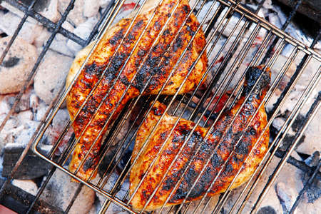 fine legs: grilling spiced chicken in grid on charcoal bbq with tomatoes and vegetables