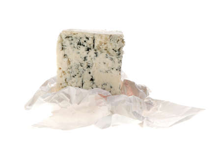 stilton: aged italian deli fresh blue stilton cheese in wrapping paper isolated over white background