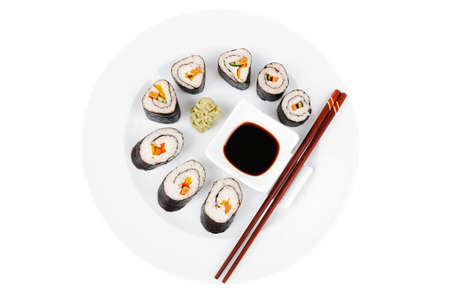 maguro: Japanese Traditional Cuisine - California Roll with Salmon (sake), Cream Cheese and Tuna (maguro) . on white dish with sticks isolated over white background Stock Photo