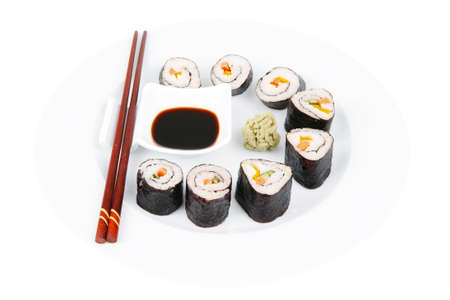 maguro: Japanese Traditional Cuisine - California Roll with Salmon (sake), Cream Cheese and Tuna (maguro) on white dish with sticks isolated over white background