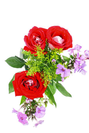 botan:  big bouquet of rose and pansy flowers with green grass isolated over white background