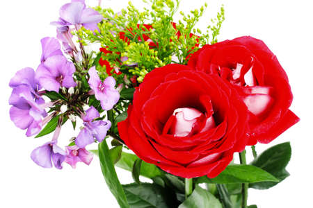 botan: flowers : big bouquet of rose and pansy flowers with green grass isolated over white background Stock Photo