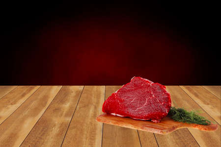 steak beef: fresh raw red beef meat big steak chunk on wooden cut board isolated over white background