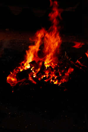 bugle: image of stone charcoal fire on bugle as abstract background