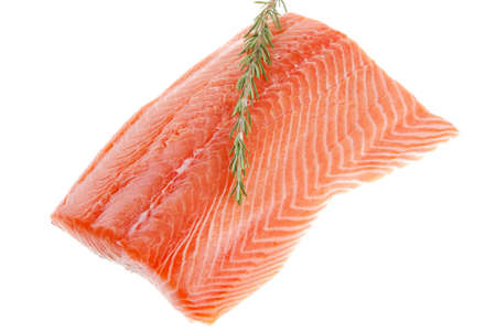 seafish: raw big salmon bar and rosemary over white background