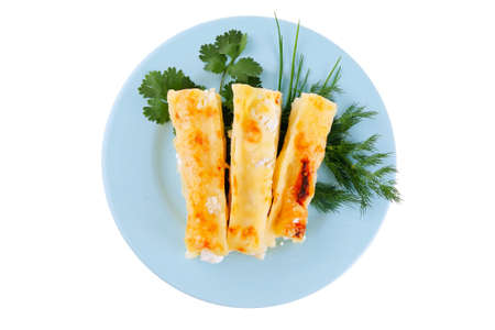 greenery: baked cannelloni with cheese served with greenery