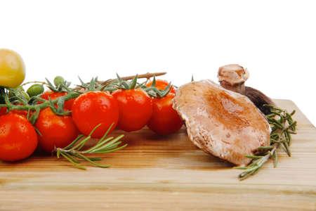 prepared: fresh prepared raw vegetables on cutting board Stock Photo