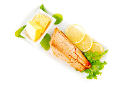 king salmon: salmon steak and butter with green salad