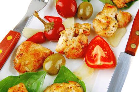 pullet: served roast chicken brisket on green leaf of basil
