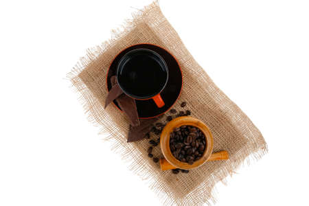 black beans: black coffe with dark chocolate and beans Stock Photo