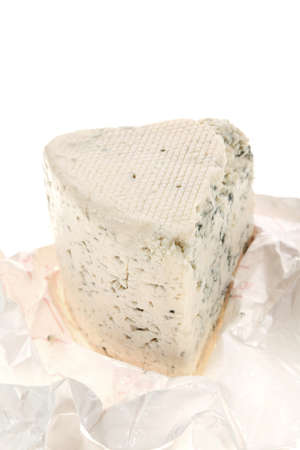 cheez: aged italian deli fresh blue stilton cheese in wrapping paper isolated over white background