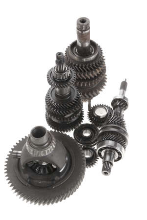 shafts: real used motor steel gear transmission parts isolated on white background
