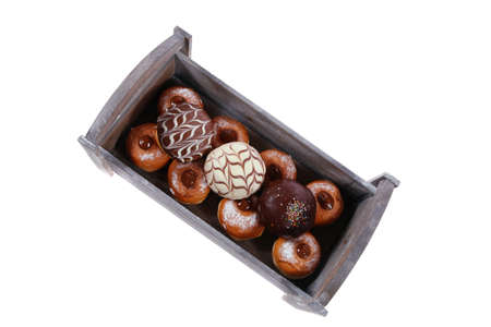 Tradicional judío, fiesta, chanuka, donuts, retro, vendimia, bandeja, aislado, blanco, fondo