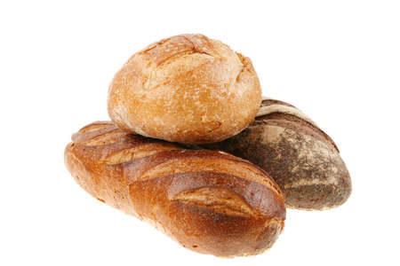 different rye and white flour fresh baked french bread loaf isolated on white background