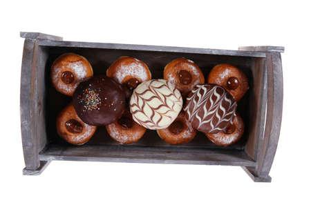 chanuka: traditional jewish holiday chanuka donuts in retro vintage tray isolated on white background Stock Photo