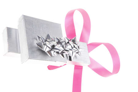 shinning: silver gift box with pink bow isolated over white background Stock Photo