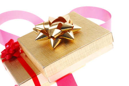 neckband: gold gift box with pink bow isolated over white background