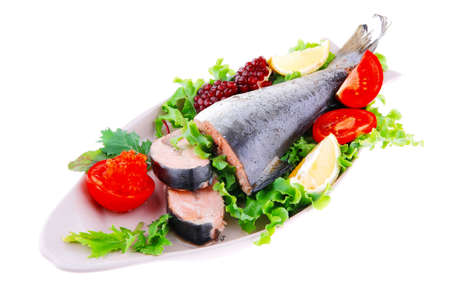 baked pink salmon served on plate with salad Stock Photo