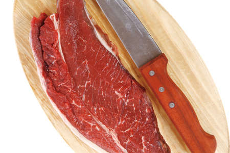 raw meat beefsteak fillet with knife on wood isolated over white background Stock fotó