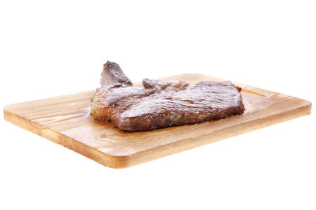 roast beefsteak fillet on wood isolated over white background Stock fotó