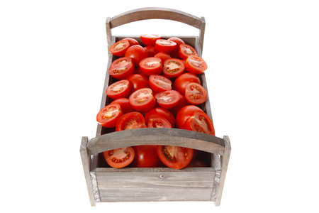 old style antique grey box full of fresh red raw tomatoes and halfs isolated over white background Stock fotó - 97206190