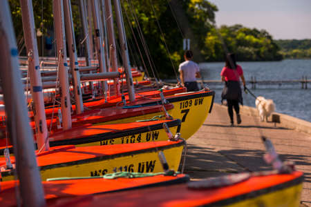 Sailboats on the shore of Lake Mendota on the Howard Temin Lakeshore Path