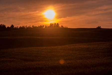 Sunset over farm field in Northern Wisconsin