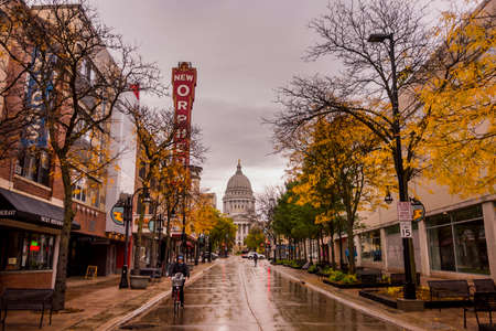 State Capitol from State Street in Madison, Wisconsin Editorial