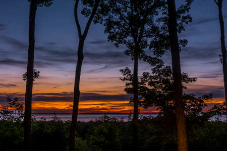 Summer sunset over Green Bay in Door County, Wisconsin