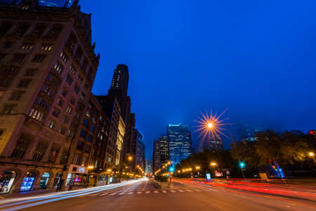 Michigan Avenue and West Monroe Street traffic at night.