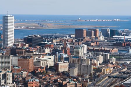 Boston Harbor and Logan Airport Aerial View Stock Photo
