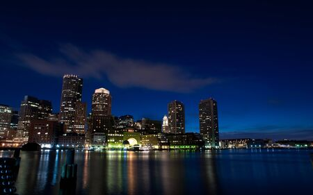 The waterfront of Boston at twilight Stock Photo