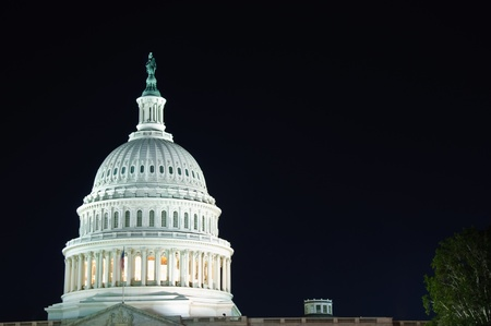 The US Capitol dome at night in horizontal