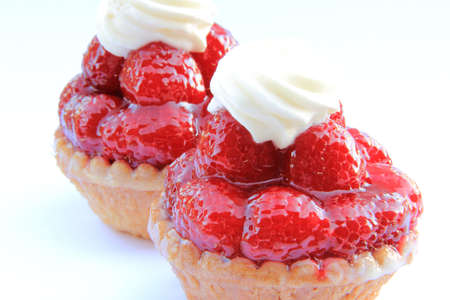 chantilly: two raspberry tartlets with custard and chantilly Stock Photo