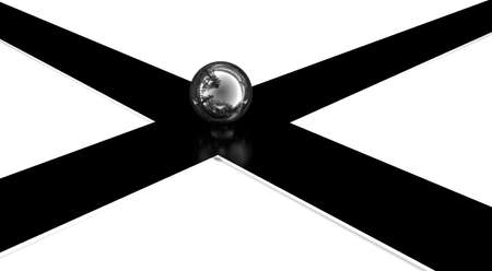 3d crossroads and chrome ball photo