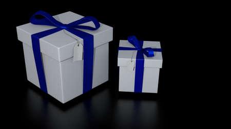 giftbox with blue ribbon photo