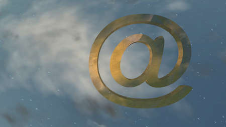 shattered: shattered gold email symbol on starry sky background Stock Photo