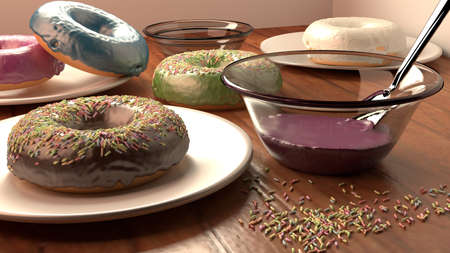donuts breakfast table photo