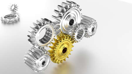 teamwork concept   shiny chrome gears photo