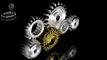 mechanism of progress: chrome gears on black background Stock Photo