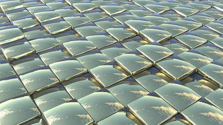 squama: abstract background made of shiny glossy golden random tiles Stock Photo