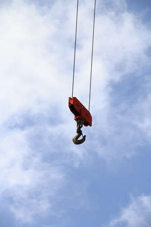 pulley: Construction crane hook and pulley